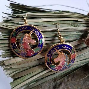 Vintage Cloisonne Earrings Unicorn Earrings Horses